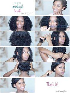 Headband updo by Mohogany Curls