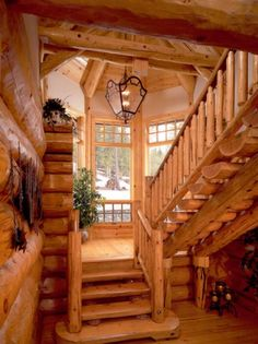 Mountain house stairway...love!