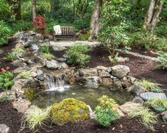 Garden Pond Waterfall Design Ideas, Pictures, Remodel and Decor Rustic Landscaping, Pond Landscaping, Landscaping With Rocks, Backyard Water Feature, Ponds Backyard, Backyard Waterfalls, Outdoor Ponds, Garden Ponds, Garden Pond Design