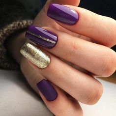 and Beautiful Nail Art Designs Purple Nails, Gold Nails, Cute Nails, Pretty Nails, Hair And Nails, My Nails, Nail Art Designs, Lila Gold, Football Nails