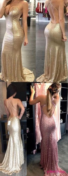 Gold Prom Dress,Floor Length Prom Dress,Prom Dress with Train,Long Homecoming Dress,Mermaid Style Evening Dress,Backless Evening Dress,Halter Prom Dress,Prom Dress for Woman PD20187453