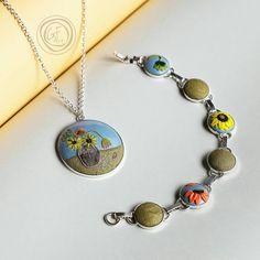 Bright summer jewelry set. Pendant and bracelet. от GFArtStore
