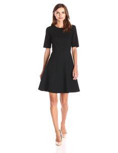 Lark & Ro Women's Elbow-Sleeve Textured Full Flare Dress, Black, Small: Amazon Fashion
