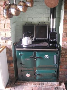 The Rayburn is a type of stove similar in nature to the AGA and are manufactured in Telford at the same factory as the AGA. Launched in 1946 with two hotplates, and one or two ovens and the ability to heat water. Modern Rayburns are classified into two categories - Cookmasters, which cannot run radiators (for central house heating), and Heatmasters, which can. Unlike the Aga, Rayburns are still available in solid fuel or wood fuelled versions.