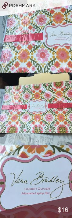 "Vera laptop skin. 🌸🌺 Pretty Vera Bradley adhesive cover for your laptop.  Measures up to 17"".  Protects against scratches and makes a statement!  🎀 Vera Bradley Accessories"