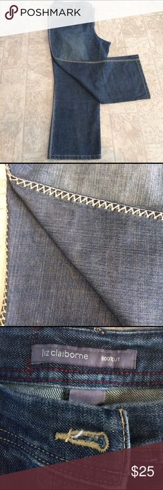 Basically born boot cut size 18 petite This is a pair of Liz Claiborne Petite boot cut jeans ,with a zigzag threading on the side of the legs ,they are full length but petite dimensions are, waist 42 hips 50 inseam 27Length 37 1/2. Liz Claiborne Jeans Boot Cut