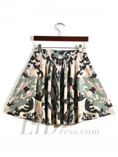 Hot Yellow-Green Camouflage Sky Digital Pleated Digital Print Skirt Skt1205