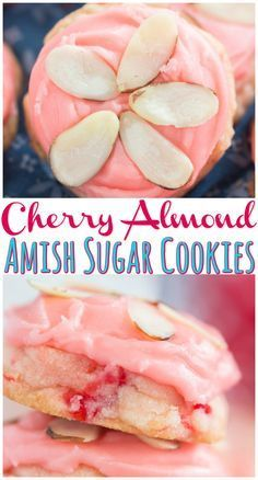Cherry Almond Amish Sugar Cookies Cherry Almond Amish Sugar Cookies by , Cookies Recipes Soft, puffy, melt-in-your-mout. Mini Desserts, Cookie Desserts, Cookie Recipes, Delicious Desserts, Dessert Recipes, Yummy Food, Healthy Food, Healthy Nutrition, Healthy Meals