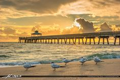 Sunrise at the Deerfield Beach Fishing Pier in Broward County, Florida. HDR photo created using Photomatix Pro and Topaz software.