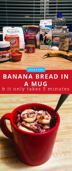 How to make banana nut bread in a mug.