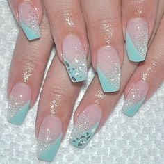 By: - nails - # nails Glam Nails, Beauty Nails, Cute Nails, Pretty Nails, Simple Acrylic Nails, Acrylic Nail Designs, Nail Art Designs, French Pedicure Designs, Turquoise Nail Designs