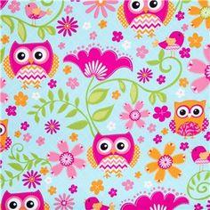 Colorful Chevron & Dot Owl & Bird Fabric | Shop Hobby Lobby one side of crochet baby blanket