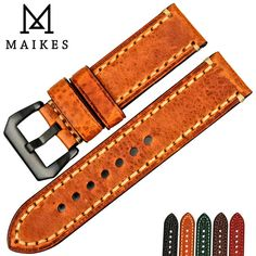 Flash Deals $12.99, Buy MAIKES Watch accessories Italian cow leather watch band 20mm 22mm 24mm 26mm watchbands men watch strap for Panerai