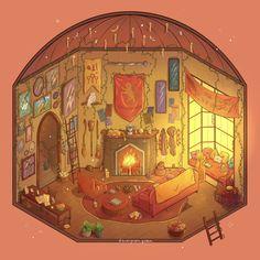 Gryffindor Common Room, an art print by Brittnie Marcil Arte Do Harry Potter, Harry Potter Drawings, Harry Potter Universal, Harry Potter Fandom, Harry Potter World, Harry Potter Hogwarts, Hogwarts Robes, Hogwarts Uniform, Hogwarts Crest