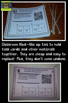Classroom Hack–Use Zip Ties for Task Cards