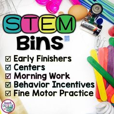 """""""Instead of giving our kids MORE work, let's give them more MEANINGFUL work,"""" says teacher Brooke Brown. Check out her STEM bins for early finishers."""