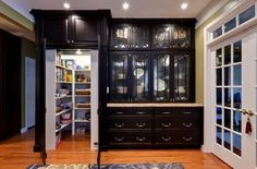 Whoa baby is all I can say about this black cabinetry.... look at that Pantry!!!!!