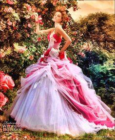 red, pink white wedding dress