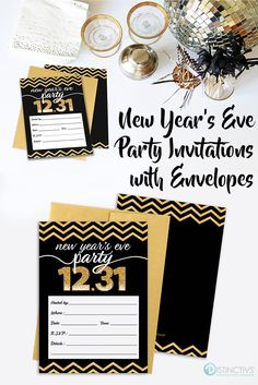 new years eve party invitation cards with envelopes black gold 25 count