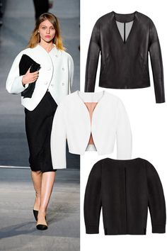 This is one of the most wardrobe-defining purchases you can make, in black, white, houndstooth, or sprigged floral silk (see Louis Vuitton's). It's a curve-accentuating keeper that will modernize everything you team it with. It could be a jacket with flared hips, like Dior's replay on the classic Bar shape, or it might have a peplum or gauntlet cuffs as seen at Prada. Go for quality and precision contouring, and wear it with slouchy pants. Or vamp it up with a slinky skirt. J Brand jacket…