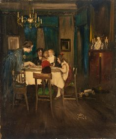 Mother with her Children at the Table - Wilhelm Schreuer 1905, German 1866-1933