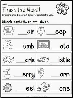 Blending sounds Worksheets for Kindergarten. √ Blending sounds Worksheets for Kindergarten. Spring Math and Literacy Centers Plus A Freebie Phonics Worksheets Grade 1, School Worksheets, Printable Worksheets, Blends Worksheets, Digraphs Worksheets, Ks2 English Worksheets, 1st Grade Reading Worksheets, Free Printable, First Grade Phonics