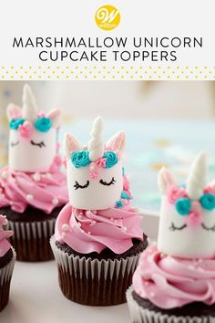 Magical Marshmallow Unicorn Cupcakes is part of Unicorn cupcakes What makes chocolate cupcakes even better Unicorns, of course! These adorable Magical Marshmallow Unicorn Cupcakes feature cute pink - Cupcakes Au Cholocat, Unicorn Cupcakes Toppers, Cupcakes For Birthday, Baby Shower Girl Cupcakes, Baking Cupcakes, Sweet Cupcakes, Easy Fondant Cupcakes, Cupcakes Kids, Birthday Sweets