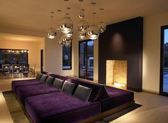 home theater purple | ... Purple cushions go great with a vivacious home theater setting