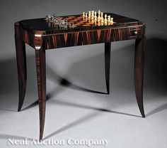 An Art Moderne Palissandre and Burr Thuyawood Games Table, c. 1925-30