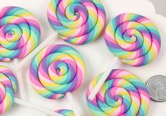 Huge Pastel Rainbow Swirl Lollipop Flatback Clay or Resin Cabochons - 2 pc set Elegant Centerpieces, Holiday Centerpieces, Centerpiece Decorations, Rainbow Lollipops, Swirl Lollipops, Lollipop Lollipop, Cake Pops, Resin Charms, Rainbow Swirl