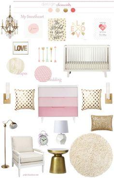 pink gold girl nursery