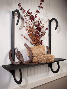 Rustic Iron Horseshoes Wall Shelf