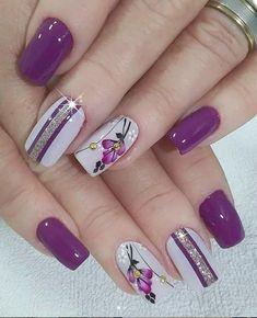 Purple And Silver Nails, Purple Nail Art, Purple Nail Designs, Pretty Nail Art, Acrylic Nail Designs, Nail Art Designs, Purple Glitter, Pastel Nails, Pretty Pastel