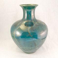 Vintage Teal Glaze Ceramic Vase