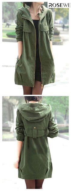 """Pocket Zipper Up Hooded Collar Army Green Coat"", "" Length and style are similar but want a tie waist and flat front pockets."", "" The garment featu Look Fashion, Winter Fashion, Fashion Outfits, Womens Fashion, Fashion Coat, Girl Outfits, Trendy Outfits, Looks Style, Style Me"