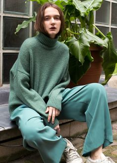 "Soft WoolMelangeTurtleneck Sweater w/Ribbed Trim Drop Shoulder,Relaxed Fit 56% Wool, 42% Nylon, 2% Elastane 23"" Length, 47"" Bust, 20"" BottomHem Dry Clean Imported"
