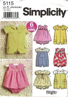 Baby Romper Pattern Simplicity 5115 (Sizes 1 month to 18 months)