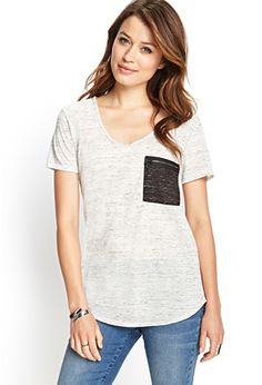 FOREVER 21 MARLED ZIP POCKET TEE IN GREY/CHARCOAL