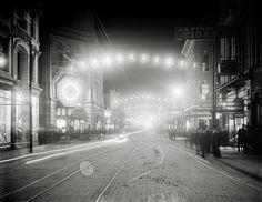 Charleston, South Carolina year 1900.King Street lights at night, Charleston, S.C .Charleston vintage photography.