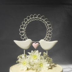 Rustic Wedding Cake Topper  Shabby Chic Cake by WoodenHeartButtons