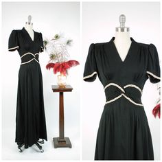 Vintage 1940s Dress - Exquisite Early 40s Full Length Black Rayon Evening Gown with Pastel Braid and Elegant Waist Twist by FabGabs on Etsy https://www.etsy.com/listing/546024082/vintage-1940s-dress-exquisite-early-40s