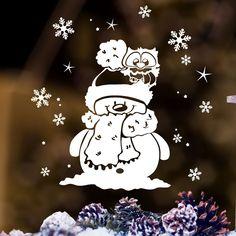 """Fensterbild """"Kleine Winter Eule mit Schneemann und Schneeflocken"""" zur weihnachtlichen Dekoration in der **Farbe WEISS**  **Mit diesem Angebot erwerben Sie den Fensteraufkleber in der Größe:** S..."""