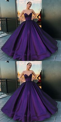 A-Line Round Neck Floor-Length Purple Satin Prom Dress with Pearls M2145