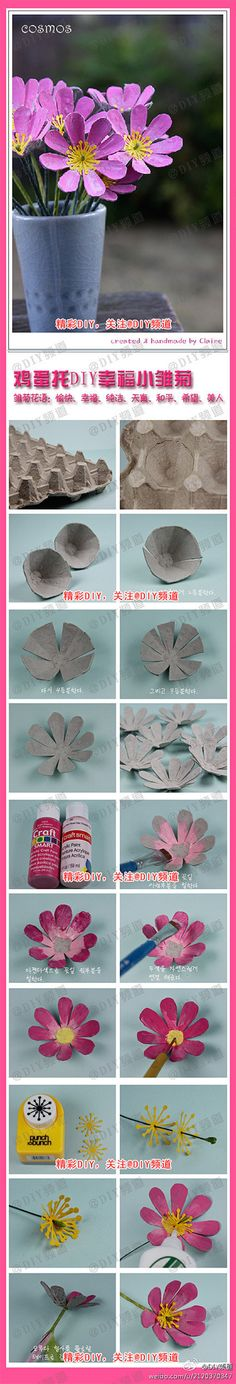 Egg packaging flower.  Flores con envases para huevos