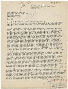 An anti-lynching letter written by 15 year old Ara Lee Settle to President… Warren Harding, Warren G, Black History Books, Criminal Justice System, Department Of Justice, Civil Rights Movement, African American History, Women In History, History Facts