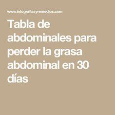 Tabla de abdominales para perder la grasa abdominal en 30 días