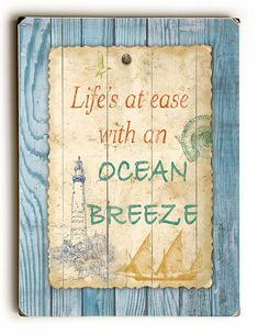 Beach Notes - Solid Wood Wall Decor by Jean Plout - 9 x 12 x ArteHouse Beach Cottage Style, Beach Cottage Decor, Coastal Decor, Coastal Living, Brant Point Lighthouse, Shabby Chic Porch, Beach Signs, Wood Wall Decor, Beach Cottages