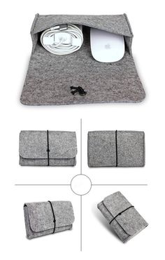 For macbook ipad Laptop New Mouse Charger USB Cable Bag digtal storage bag wool felt bag pouch adapt mouse case and Power Bag