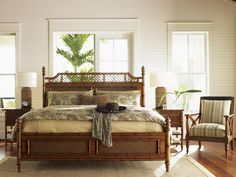 Bamboo and Rattan Bed for Master Bedroom #TommyBahamaBed #VacationHome