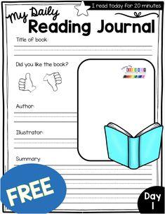 FREE Reading Log and Journal for Kindergarten